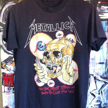 Vintage 80's METALLICA Shortest Straw Tour Shirt PUSHEAD Grunge Metal Punk Thrash 50/50 Soft Thin Slayer Anthrax Crumbsuckers RARE