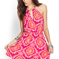 FOREVER 21 Tie-Dye Cami Dress Magenta/Orange