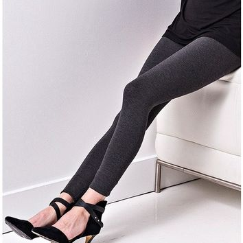 Lysse Cotton Tight Ankle Legging - Charcoal
