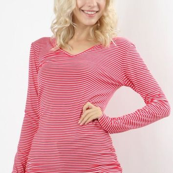 Red Pinstripe V-Neck Long Sleeve Tee