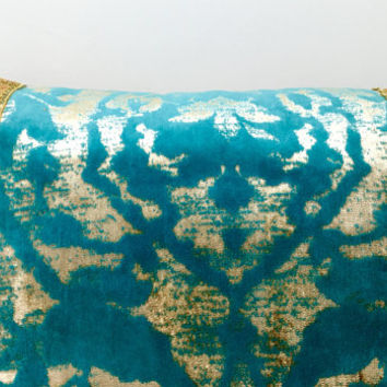 Gold Turquoise Velvet Pillow Cover, Designer Pillow, Throw Pillows, Velvet Pillow, Decorative Pillows, Gold Velvet Couch Sofa Pillow Covers
