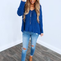 Winter Feels Sweater: Royal Blue