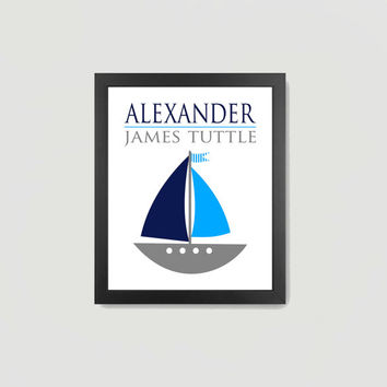 Nursery Print Nautical Light Blue Gray White Navy Sailboat Baby Boy, Personalized Name 8x10 Digital Download Wall Art Decor Print