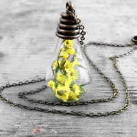 SUNSHINE - real yellow baby's breath in glass drop necklace. Summer preserving necklace.