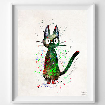 Kiki's Delivery Service, Cat Jiji Print, Watercolor Art, Poster, Gift Idea, Illustration, Hayao Miyazaki, Ghibli, Mothers Day Gift