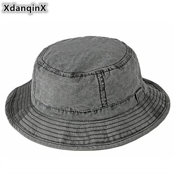 a139b78f XdanqinX Adult Men's Cap Washable 100% Cotton Bucket Hats Spring Summer  Simple Beach Hat Fashion
