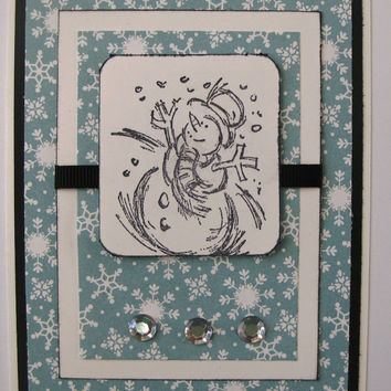 Christmas Card Snowman with Snowflakes Black and White with Black Ribbon Handmade Christmas Card Snowman Homemade Christmas Card Snowman