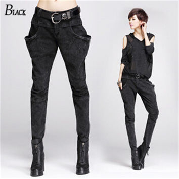 Korean women's harem pants Large pocket denim pants black hip-hop pants plus size sequin women pants 2015 unique womens clothing