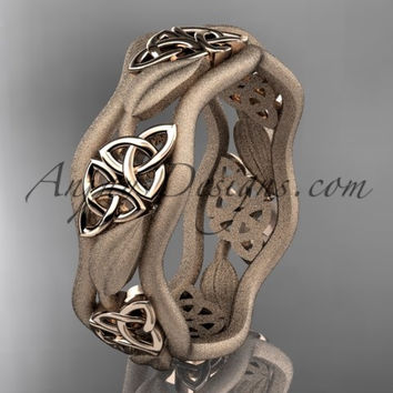 14kt rose gold celtic trinity knot wedding band, engagement ring CT7506GM