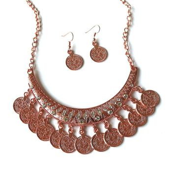 Ethnic Carved Coins Necklaces for Women