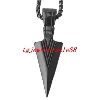 Perfect Classic Black  Arrowhead Pendant Cool Men's Stainless Steel Punk Style Necklace Jewelry Free Box Chain 24""