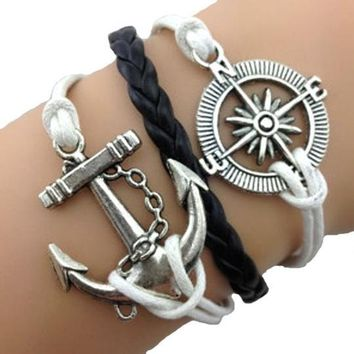 Compass Anchor White & Black Bracelet