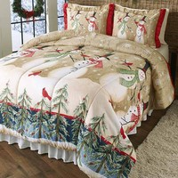 Snowman Christmas Comforter Holiday Winter Home Decor Bedding