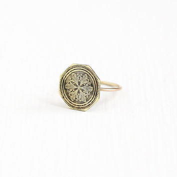 Antique 10k & 14k Yellow Gold Snowflake Ring - Size 5 3/4 Vintage Art Deco Dated 1917 Fine Octagonal Cufflink Conversion Jewelry
