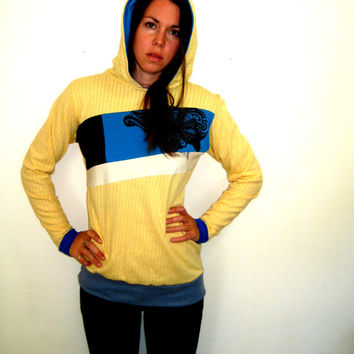 Yellow Blues Hoodie, Surfer Hoodie, Knit Hoodie, Ooak Hoodie, Color Block Hoodie, Pullover Hoodie, Travel Sweatshirt, Tribal Flower Print