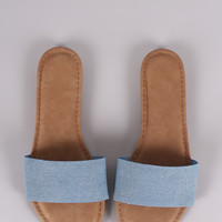 Bamboo Denim Single Wide Band Slip-On Sandal