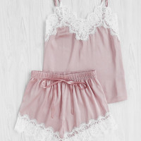 Lace Trim Satin Cami And Shorts Pajama Set -SheIn(Sheinside)