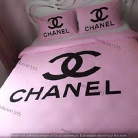 Chanel Bedding Set Bedroom Duvet Cover Sheet Pillowcases Queen 100% Cotton Pink