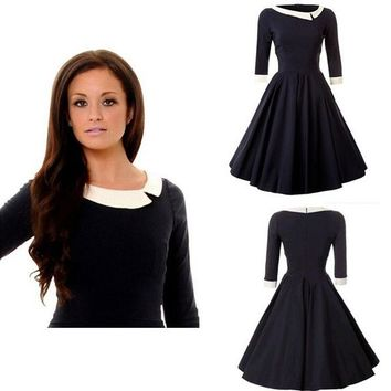 Navy Retro Style Swing Dress