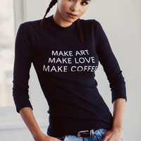 Make Art 3/4 Sleeve Top (Black)