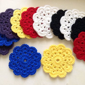 Set of 12 Crochet Napkins, Crochet Coasters, Multicolored Colour, 100% Wool.