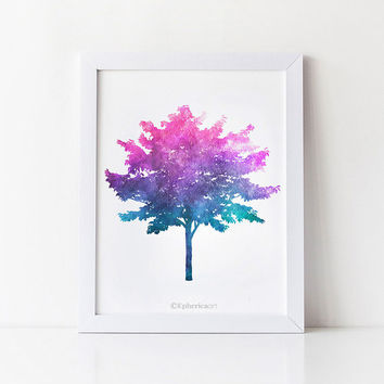 Tree wall art, 8x10 art print, Blue purple Tree decor, Colorful print Printable art print, Modern wall decor art, Home decor wall art print