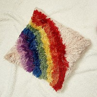 Fluffy Rainbow Throw Cushion | Urban Outfitters