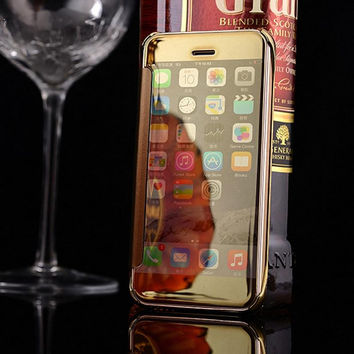 Luxury Full Mirror Window View Case For Apple iPhon 5 5S Newest Deluxe Flip Cover for iPhone 5S iPhon 5 Fundas Capa Coque