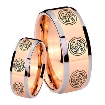 His Hers Rose Gold Beveled Multiple Doctor Who 2 Tone Tungsten Wedding Rings Set