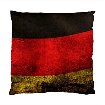 """Stylized Grunge German Flag Germany Throw Pillow Cushion Case Slip Cover Polyester Fabric 17"""" or 20"""" Square Custom Design Made to Order"""