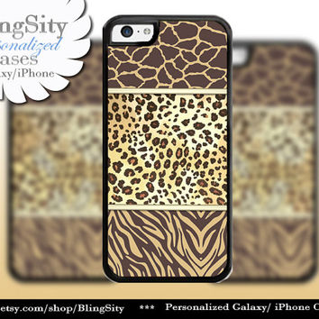 Leopard Giraffe iPhone 5C 6 Case Plus iPhone 5s 4 Ipod 4 5 Touch case Cheetah Monogram Zebra Print Personalized