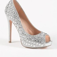 High Heel Open Toe Pump with Mega Stones