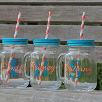glass mason mug, personalized mason mug, country wedding, drinking mason, mason cup, mason tumbler, wedding party favor, bridesmaid gift