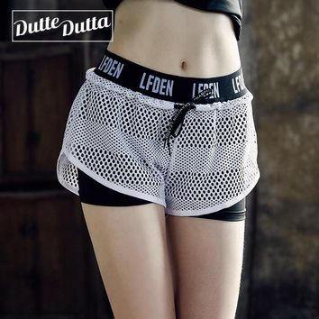 Woman Sporty Fitness Women's Short Sport Femme Sports Wear For Women 2 In 1  Mesh Workout Yoga Gym Shorts Ladies Activewear