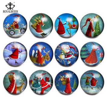 Royalbeier 12pcs/lot Christmas Glass Charms 18mm Snap Button Jewelry Bracelet Santa Claus Cute Animal Christmas Hat Snap Button