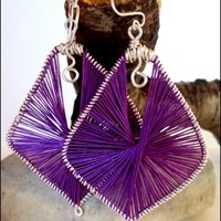 Purple Silk Wrapped Wire Wrapped Sculpted Sterling Silver Earrings