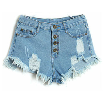Casual Washed Hole Buckle Open Tassel High Waist Thin Denim Shorts Plus Size
