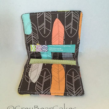 Feather Business Card Wallet, Credit Card Holder, Custom Card Wallet, Fabric Card Wallet
