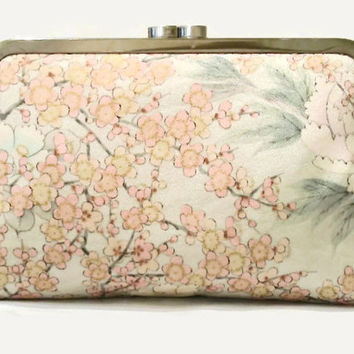 "Bridal Clutch Purse In Very Pale Blue Silk Featuring Camellia And Plum Blossom Flowers In Pink And Gold, Made From Japanese Silk 9"" x 5.5"""
