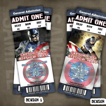 PERSONALIZED – Captain America Birthday Party Invitation Admission Ticket Style 12ct-36ct Fast