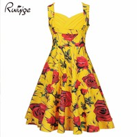 2017 Strapless Retro Dress Floral Print 50s Vintage Dress Rockabilly Swing Pinup Women Summer Dress Party Club Casual Dresses