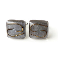 Grey Fishing Cufflinks, Fish Hooks in Square Resin Cabochons, Fishing Jewelry, Resin Jewelry, Gift for Fisherman Angler