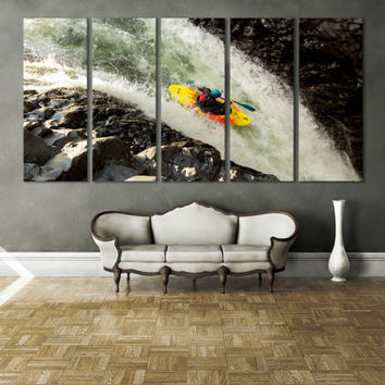 Water Sports Canoe Wall Fine Art Print / Boys Room Wall Decor Kayak Paddle Canoe Print Large Wall Art Decor / Waterfell Wall Art Canvas
