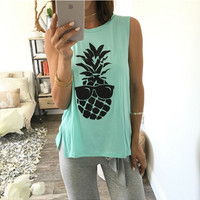 Pineapple with Shades Print Sleeveless T-Shirt