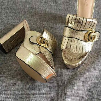 GUCCI Gold Women Fashion Casual Double GG solid buckle slippers Sandals Shoes