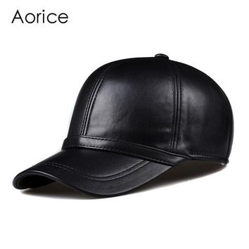 DCCKDZ2 HL091  genuine leather man's baseball cap hat CBD high quality  men's real leather adult solid adjustable hats caps