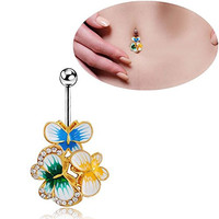 Sunshinesmile Paint Butterfly Belly Button Dangle Navel Bar Ring Body Piercing Jewellery