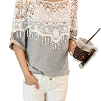 2015 Summer Sweet Lace Hollow Out T-Shirts Women's Handmade Crochet Cape Collar Batwing Sleeve Tops Lady's Tee PE2702*50