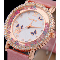 Beautiful butterfly watch, Pink band and purple butterflies bordered by rose gold.
