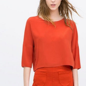 Red Sleeve Chiffon Blouse